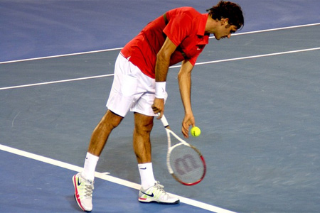 Player preparing to serve