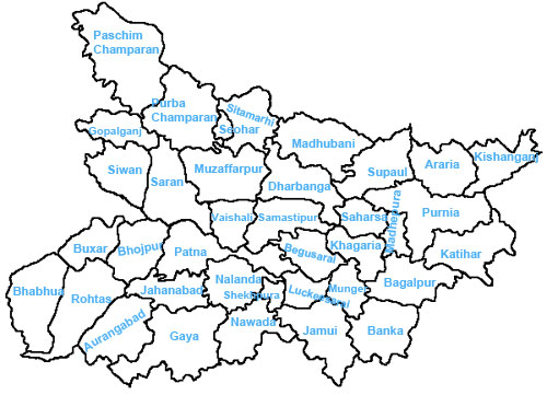 Bihar Districts, List of districts in Bihar on