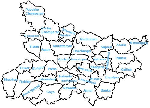 Bihar Districts Bihar District Map