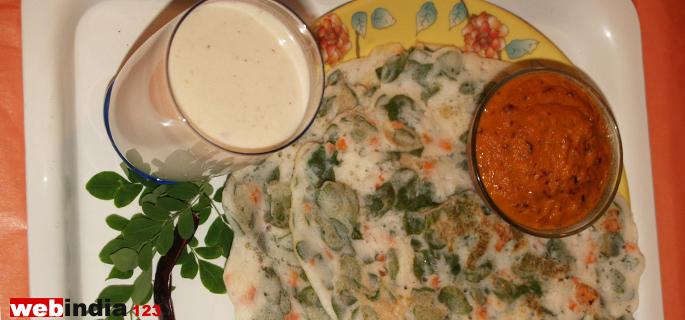 Drumstick Leaf Dosa ,Chutney and Badam Milk