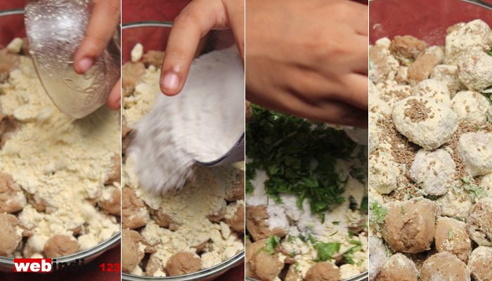 Mix soya chunks, gram flour, rice flour, salt, carom seeds, chopped coriander