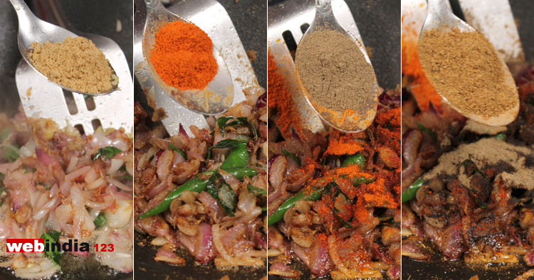 coriander powder, chilly powder, pepper powder, garam masala