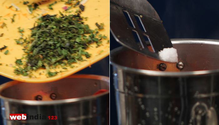 chopped coriander, pepper
