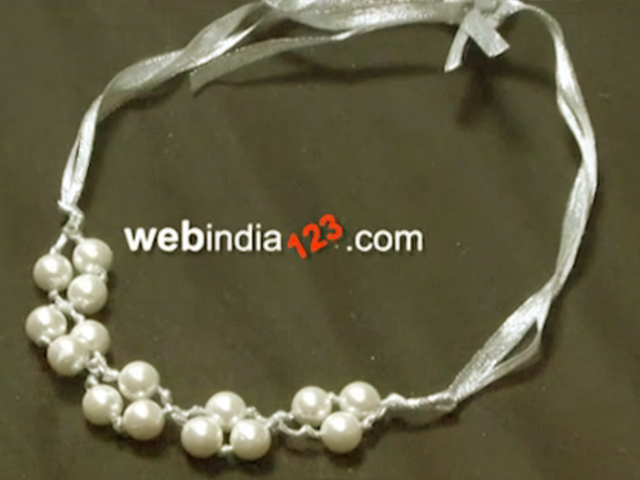 Satin Ribbon Pearl Necklace