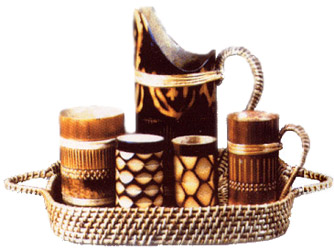 Crafts Of Assam Bamboo Tray With Beer Mugs Indian Handicrafts