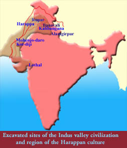 Ancient India Map Harappa.Indus Valley Civilization Ancient Indian History