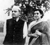 with her husband Feroz Gandhi