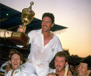 Allan Border lifts world cup for Australia