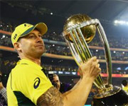 Michael Clarke lifts world cup for India
