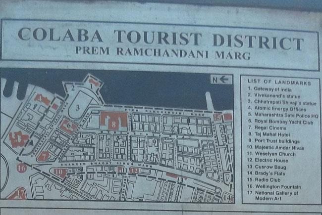 Colaba tourist district map
