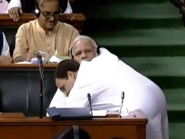 Rahul's hugplomacy after tearing into government surprises Modi (Lead)
